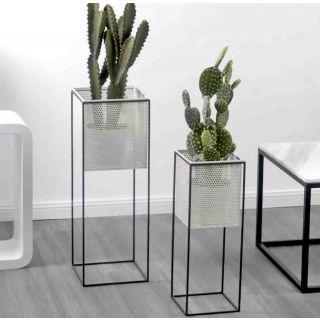 Porta Vaso Quadrato con piedistallo in metallo – 25x25 H71,5