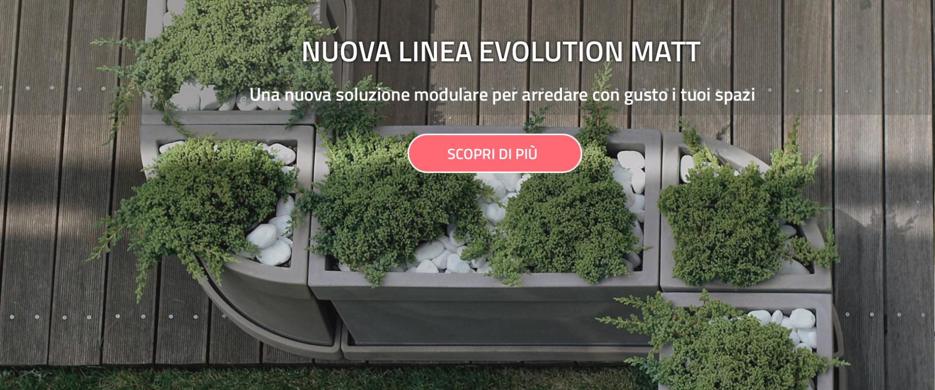 Collezione di vasi e fioriere per esterno Evolution Matt Nicoli