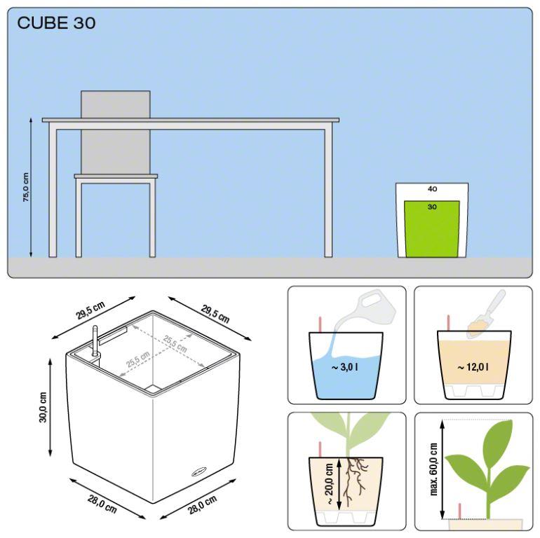 Misure Vaso Cube Premium Lechuza 30x30