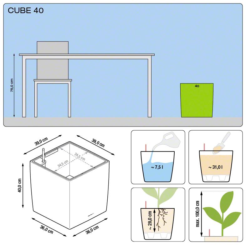 Misure Vaso Cube Premium Lechuza 40x40