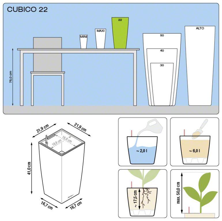 Misure Lechuza Cubico Premium 22x22