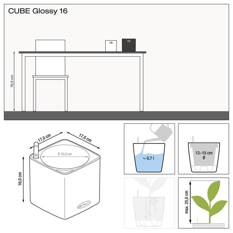 Misure vaso da tavolo Cube Glossy 16