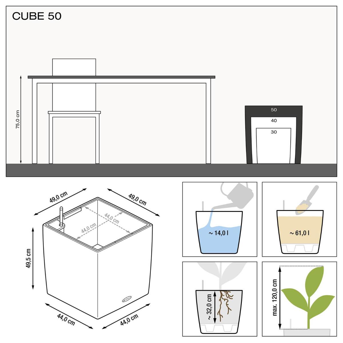 Misure Vaso Cube Premium Lechuza 50x50